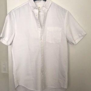 H&M Men's White Button Down Short Sleeve Shirt